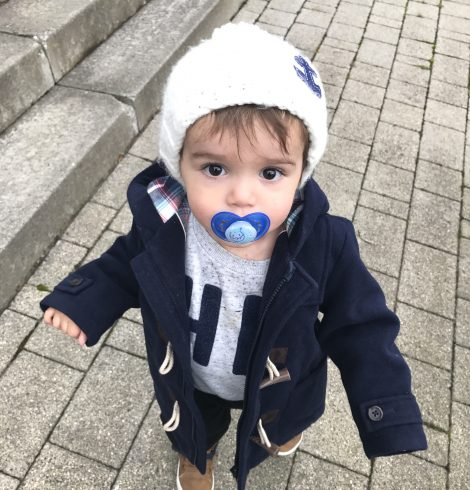 Kids Style : Navy Duffle Coat And High Top Trainers
